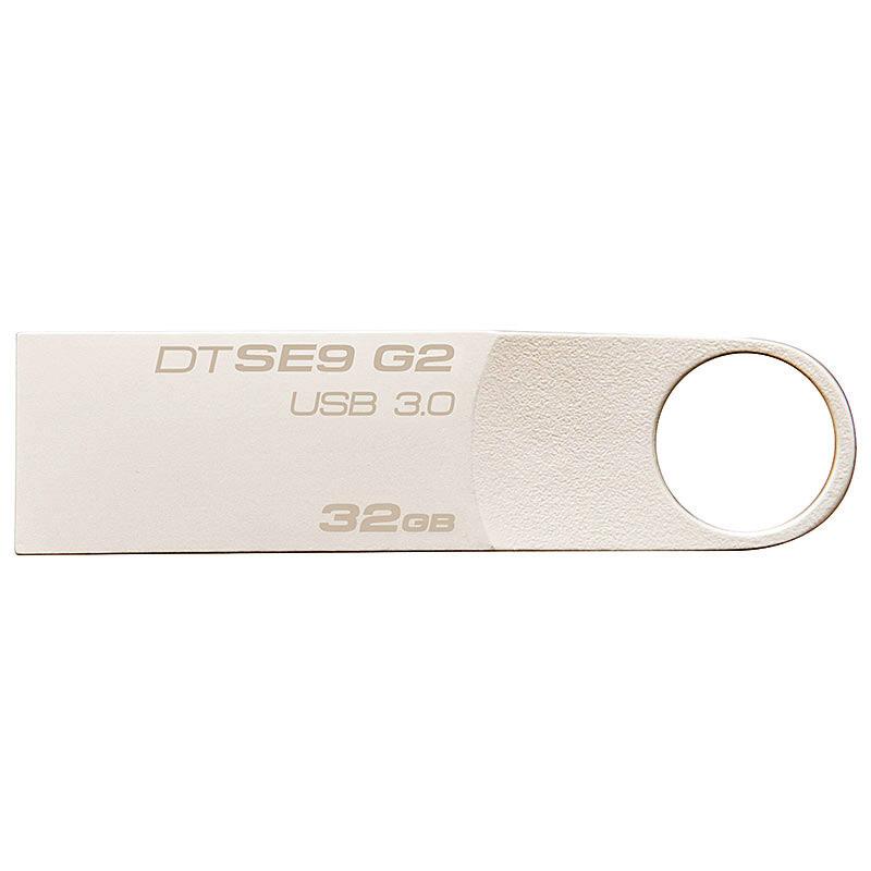 金士顿(Kingston)32GB U盘 USB3.0 DTSE9G2 金属迷你型车载U盘 银色亮薄 读速100MB/s
