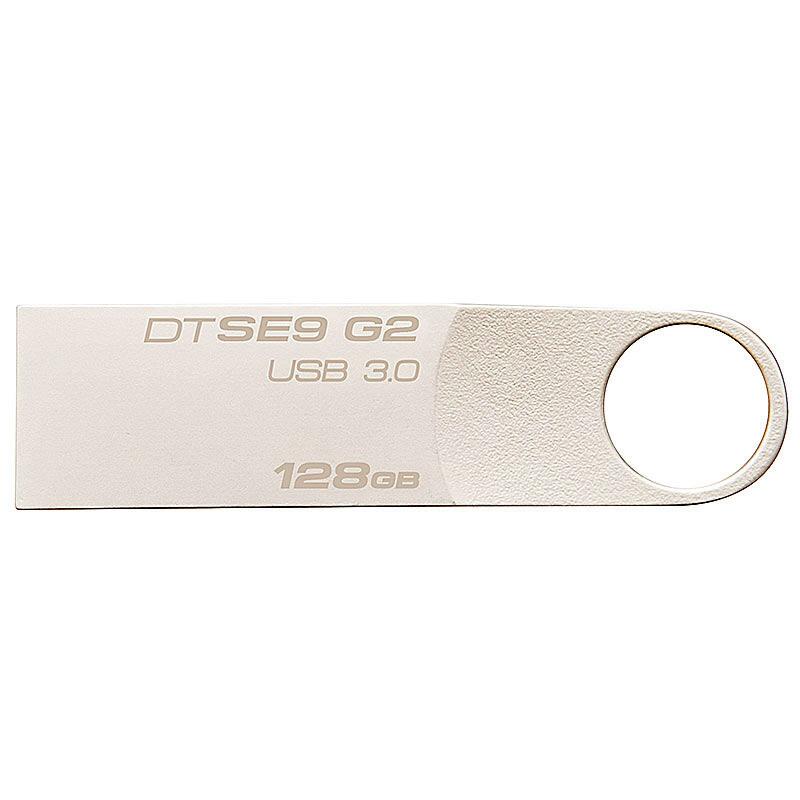 金士顿(Kingston)128GB U盘 USB3.0 DTSE9G2 金属迷你型车载U盘 银色亮薄 读速100MB/s