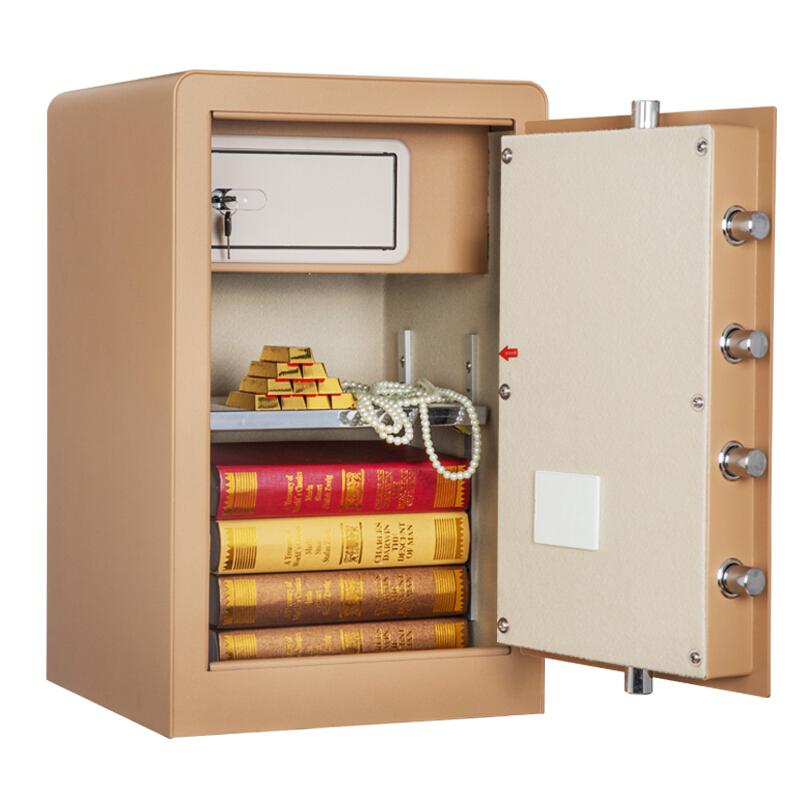 得力(deli)保险箱/保险柜系列 保管箱家用小型床头电子密码 4079B 香槟色 带内阁款