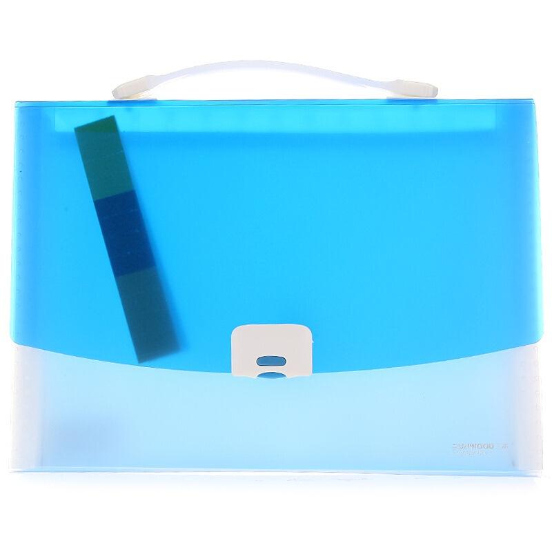三木(SUNWOOD) F4306 手提式文件包/风琴包 A4/12页 蓝色 办公文具