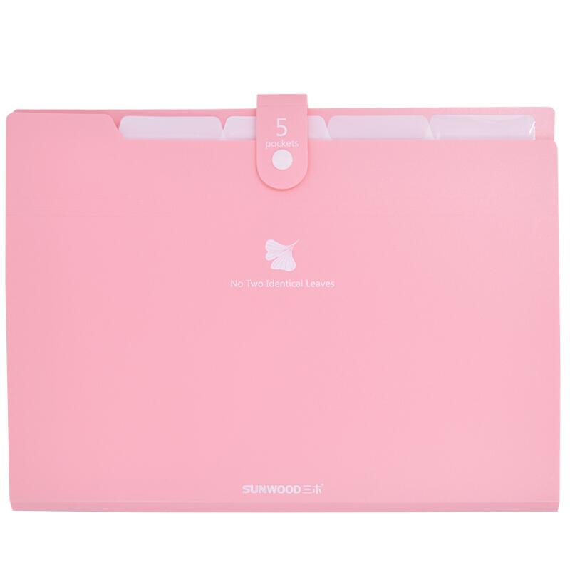 三木(SUNWOOD)A4/5格多彩系列按扣式风琴包/文件包 EX4333 粉红色