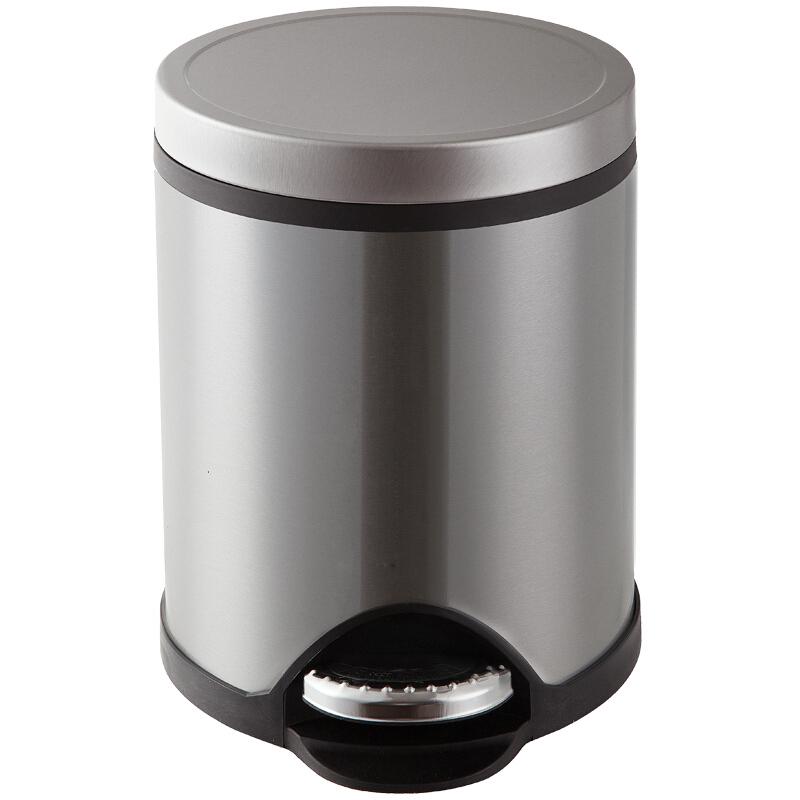 三木(SUNWOOD) 6014 8L金属脚踏式垃圾桶/纸篓 尊贵银 办公文具