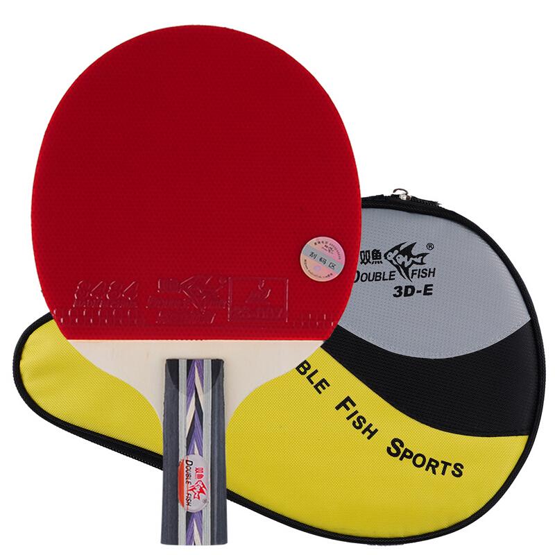 双鱼乒乓球拍直拍 3星三星兵乓球拍单拍 3D-E 赠拍套