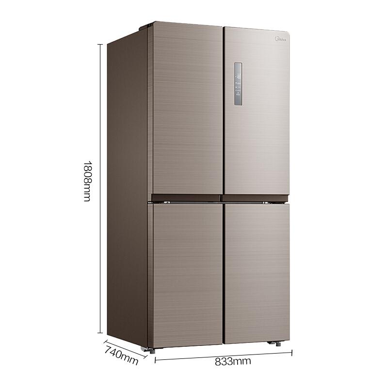 美的(Midea)448升 十字对开门冰箱 多维智能双变频无霜 铂金净味 电冰箱 爵士棕BCD-448WTPZM(E)