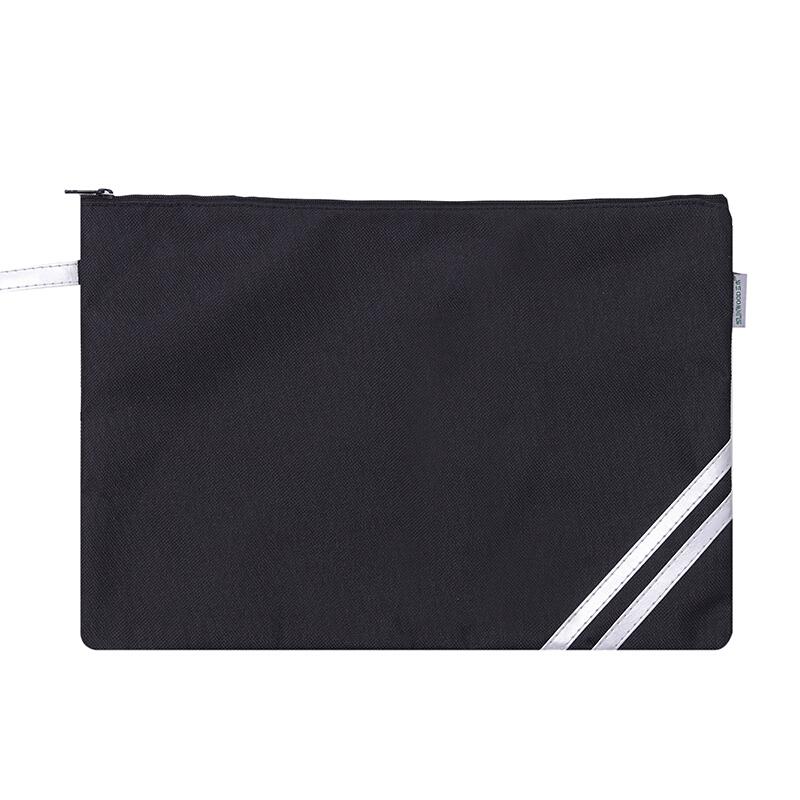 三木(SUNWOOD)單層防水收納袋/文件袋/拉鏈袋 黑C4630