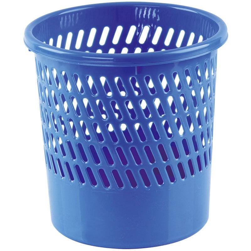 齐心(COMIX)直径25.5cm耐用经济型圆纸篓/清洁桶/垃圾桶 蓝色 办公文具 L202