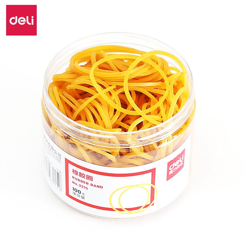 得力(deli) 橡皮筋 辦公橡皮筋 皮筋 圓圈型 財務庫房辦公用品 3215橡膠圈(黃)(100g/筒)
