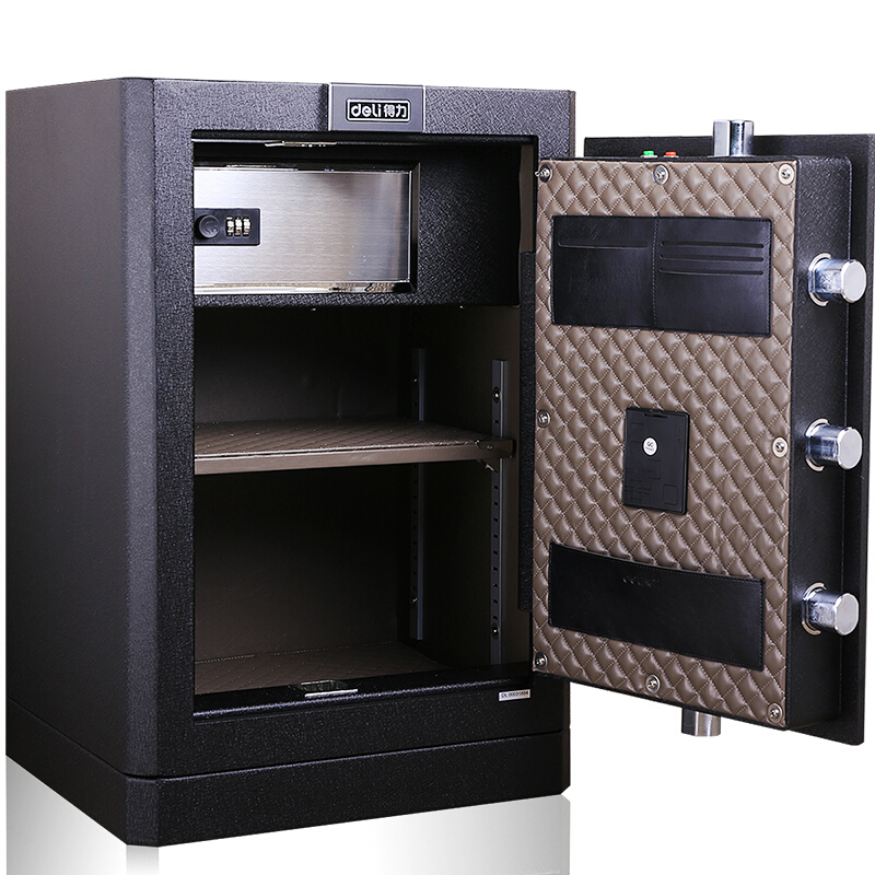 得力 (deli)指紋保險箱/保險柜/保管箱/保管柜(黑色) 4053 指紋解鎖 內部高度 65cm