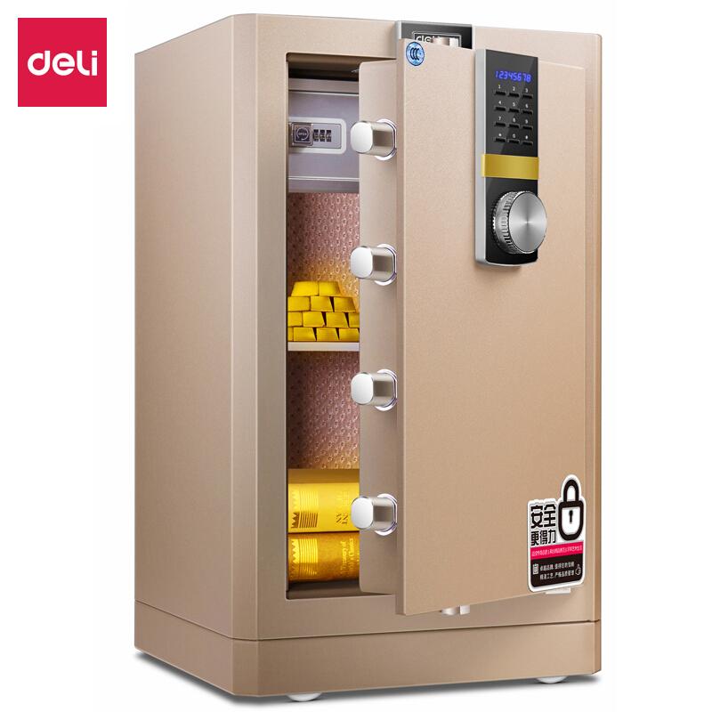 得力 (deli)保險柜家用全鋼辦公保險箱3C認證大型床頭保險柜入墻 4086 45cm智能APP保險箱