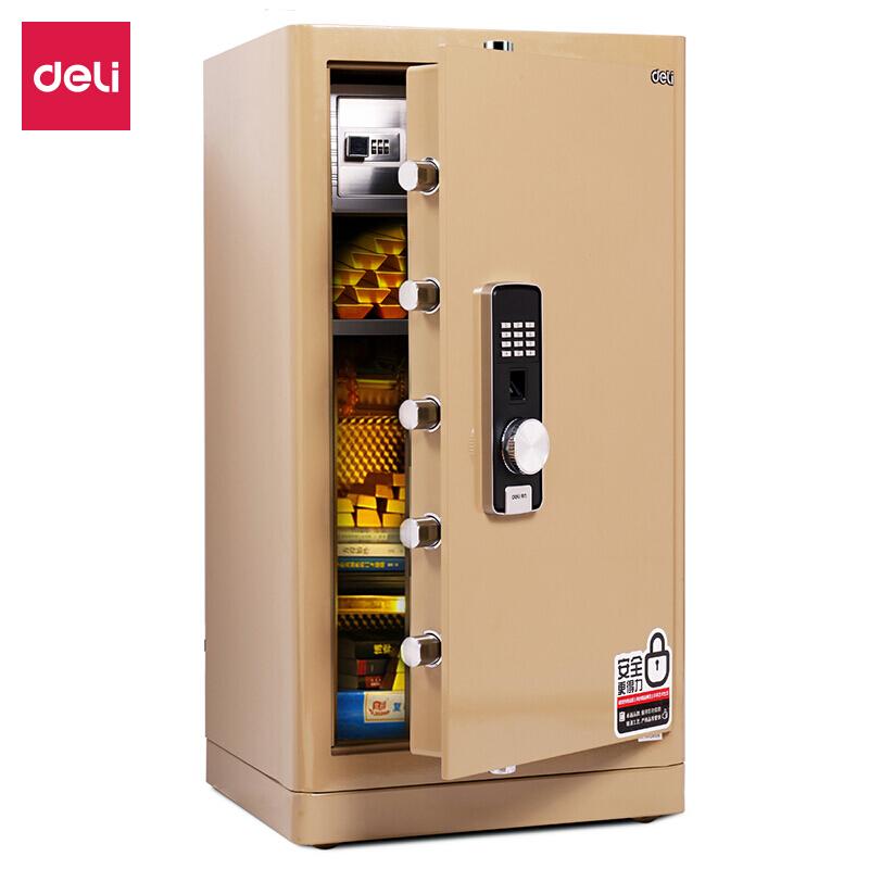 得力(deli)精典系列指紋密碼防盜保險柜 3C認證保險柜高92cm辦公家用 4069