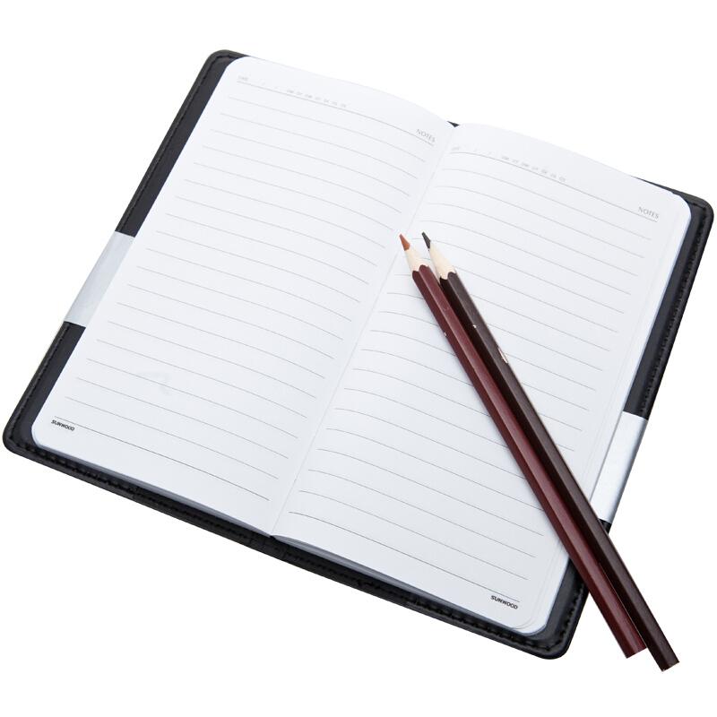 三木(SUNWOOD) 1318 高級商務皮面本/記事本/會議本 48K/80頁 黑色 辦公文具
